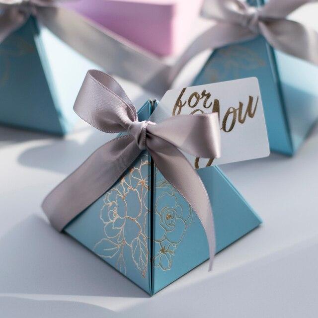 משולש פירמידת סוכריות תיבת חתונה טובה ומתנות קופסות ממתקי שקיות חתונה אורחים קישוט תינוק מקלחת ספקי צד