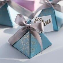 Üçgen piramit düğün şeker kutusu iyilik ve hediye kutuları şeker çanta misafirler için düğün dekorasyon bebek duş parti malzemeleri