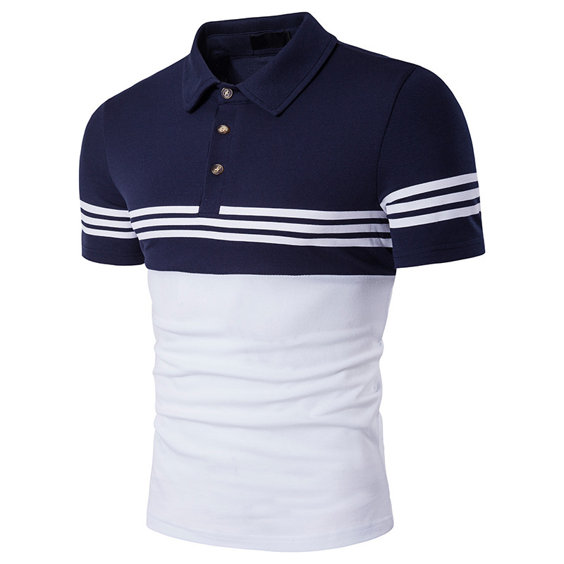 New Brand Men Polo Shirt Stripe Patchwork High Quality Casual Mens Short Sleeve Polos Summer Shirt Jerseys Slim Business Style