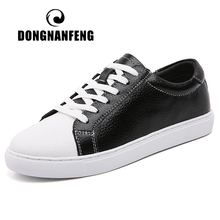 DONGNANFENG Women Female Men Students Genuine Leather White Shoes Flats Lace Up Soft Vulcanized Shoes Korean Plus Size 43 44