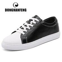 DONGNANFENG النساء الرجال الإناث الطلاب جلد طبيعي حذاء أبيض الشقق الدانتيل يصل لينة أحذية مفلكنة الكورية حجم كبير 43 44