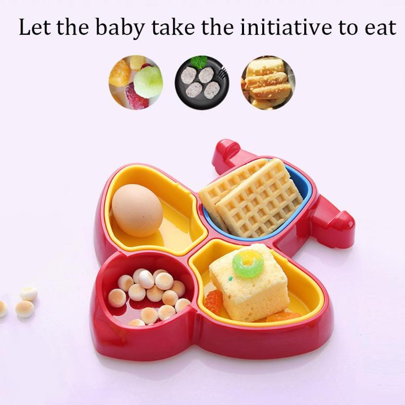 ABS Children Feeding Bowl Cartoon Airplane Food Snack Breakfast Fruit Plate Dish Aircraft Shape Attract Attention Practical image