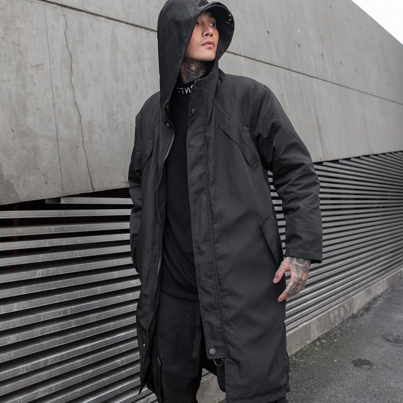 Men Autumn Winter Long Hooded Trench Coat Male Streetwear Hip Hop Punk Windbreaker Casual Jacket Overcoat Outerwear