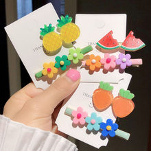 2 Pcs/Set Colorful Flower Hairpin Cute Candy Color Hair Clip Fruit Banana Watermelon Barrettes For Women Girls Hair Accessories(China)