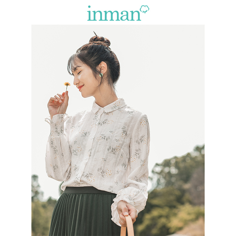 INMAN Spring Autumn Young Girl Embroidery Cotton Literary All Matched Minimalism Elegant Print Women Blouse