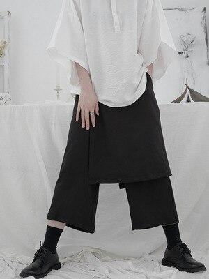 Yamamoto Black Capri Pants women's loose double layer personality design feeling minority Japanese wide legs casual pants