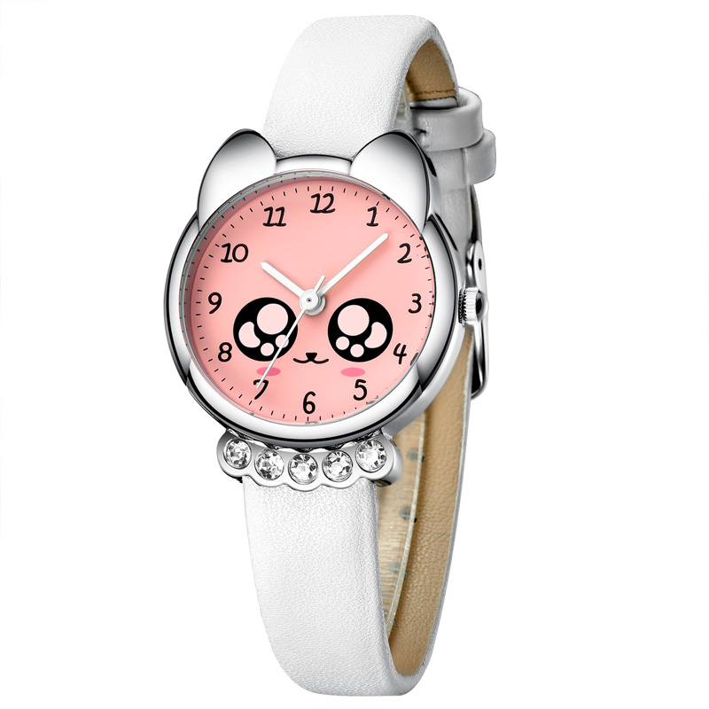 KDM Fashion Casual Girl Watch Kids Cute Leather Strap Watches Rhinestone Waterproof Lovely Kid Children Quartz Wristwatch Clock
