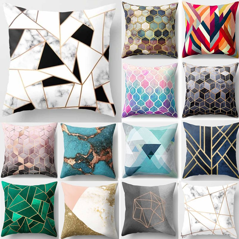 1Pcs Colorful Geometric Pattern Polyester Throw Pillow Cushion Cover Car Home Decoration Sofa Bed Decorative Pillowcase 40507