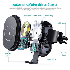 Image 2 - Qi Car Wireless Charger Mount For iPhone 11 XS XR X 8 Xiaomi Samsung Galaxy S10 S9 Auto Clamping 10W Fast Charging Phone Holder