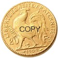 Позолоченная монета петуха  20 франков  Франция  1909