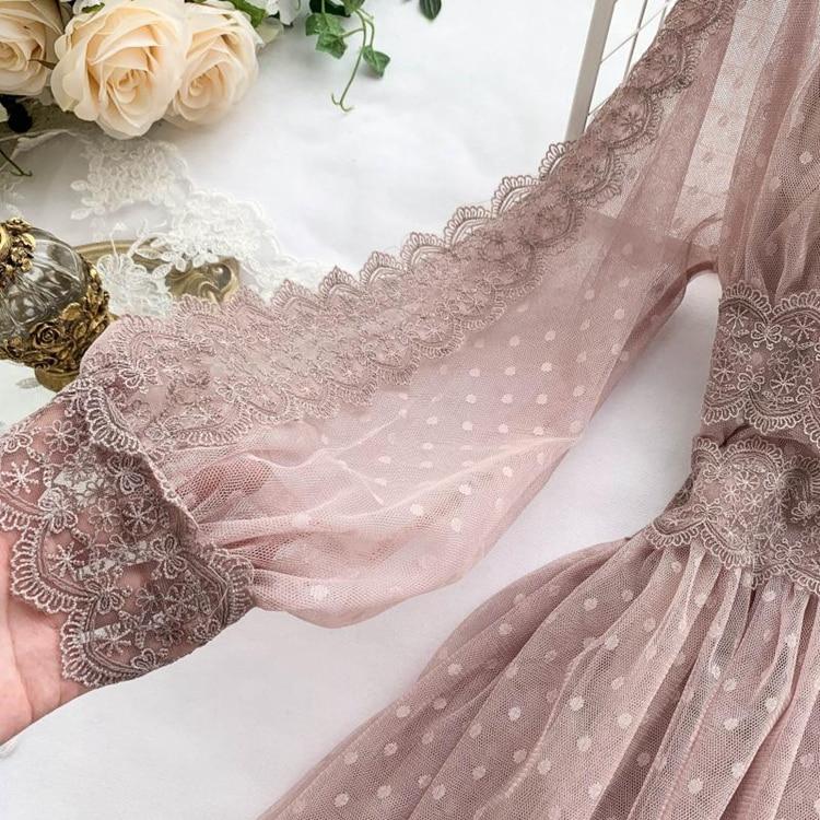 Lace Floral V-Neck Long Sleeve Polka Dot Dress 36