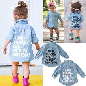 Nova moda da criança camisas do bebê casaco de algodão denim outono crianças roupas cartas impressas topos camiseta trench camisa jaqueta