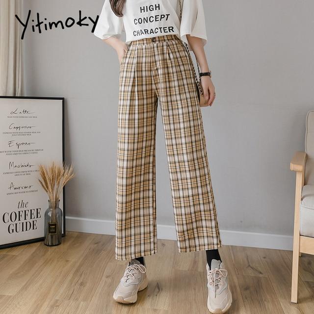 Yitimoky Vintage Plaid Pants Women High Waist Plus Size Wide Leg Casual Female Trousers 2021 Summer Joggers Clothes Streetwear 5