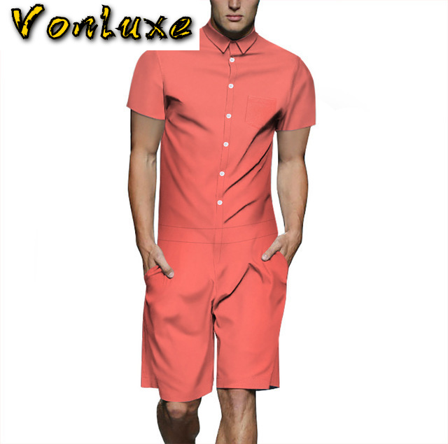 Jumpsuit Men Summer Sleeve Rompers Fashion Cotton One Piece Overalls Jumpsuits Playsuits Pants Male Short Set Clothes 2020
