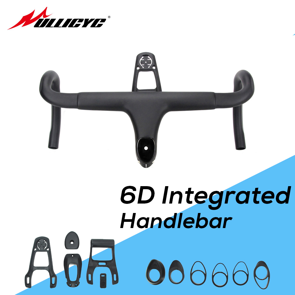 6D Full <font><b>Carbon</b></font> Fiber <font><b>Road</b></font> Bicycle <font><b>Integrated</b></font> <font><b>Handlebar</b></font> Bent Bar 28.6mm UD Weave With Bike Computer Special Spacer light Mount image