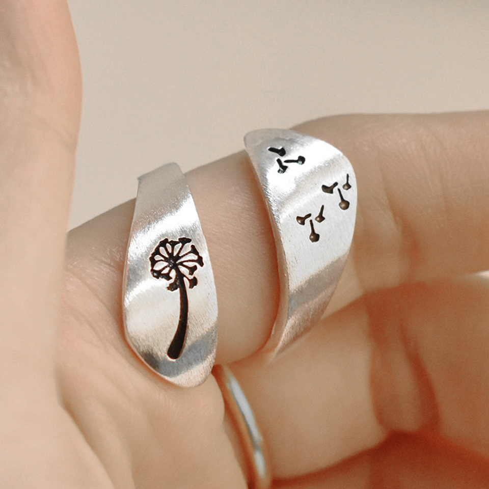 Fashion Ring for Party Birthday Jewelry Gift /& Simple Women Dandelion Spiral Opening Finger Ring Adjustable Party Jewelry Gift
