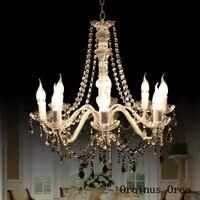 Amerikanischen Ländlichen Silber Glas Kronleuchter wohnzimmer esszimmer schlafzimmer Mittelmeer LED kreative kerze Kristall Kronleuchter