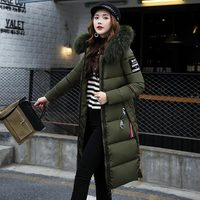 Women's down jacket high quality down coat female 2019 long slim solid color female Jackets zip fur collar women down Jacket