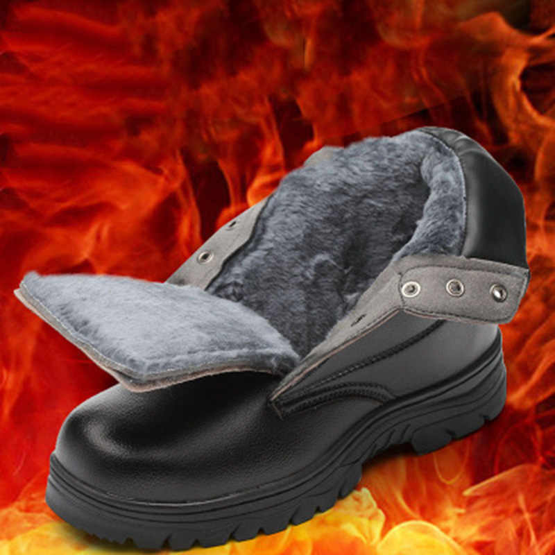 חורף כותנה נעלי עור גבוהה קר פלדה הבוהן Caps אנטי לרסק אנטי להחליק אנטי להחליק מגן עבודה נעלי מדמיע התנגדות