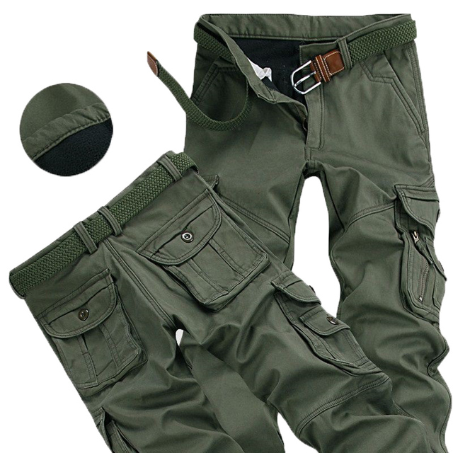 Mens Winter Pants Thick Warm Cargo Pants Casual Fleece Pockets Fur Trouser Plus Size 38 40