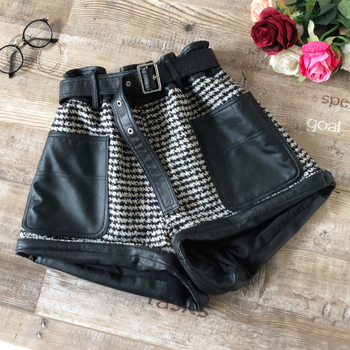 2020 New Womens Sheepskin Shorts Woolen Shorts High Waist Shorts Black Wide-Leg Shorts Fashion Simple Shorts фото