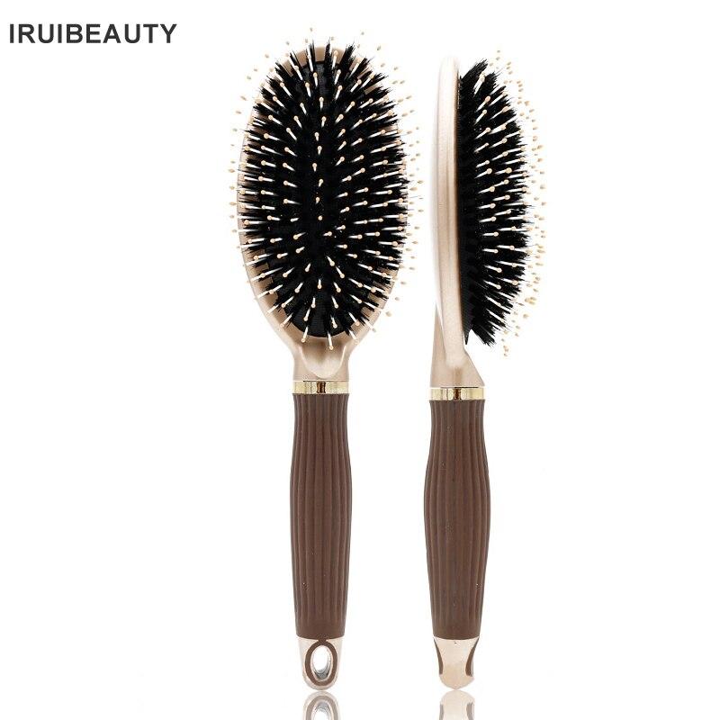 Natural Wild Boar Bristle Massage Comb Anti-static Hair Scalp Paddle Brush Beech Aluminium Handle Hair Brush Styling Tool