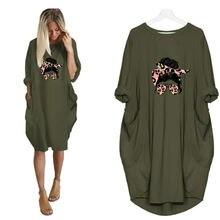 Размера плюс платье для женщин свободные леопардовая расцветка
