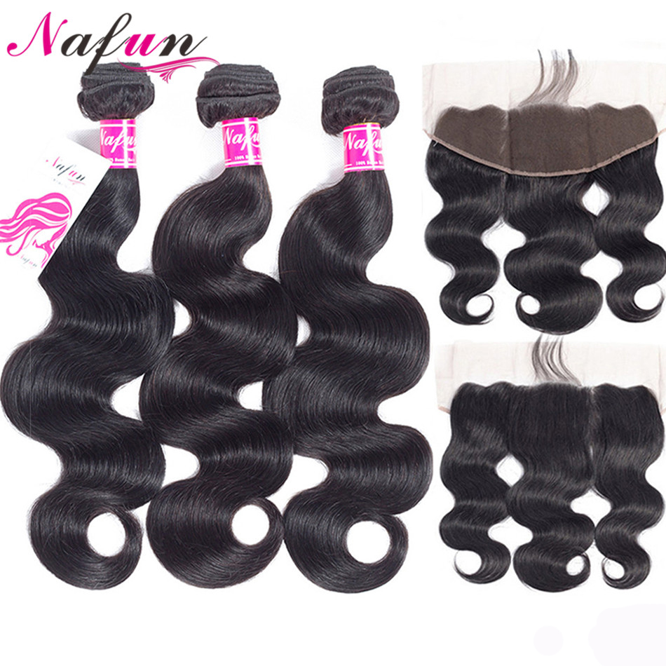 NAFUN Hair Body Wave Bundles With Frontal Closure Non-Remy Hair Peruvian Human Hair 3 Bundles With Lace Closure