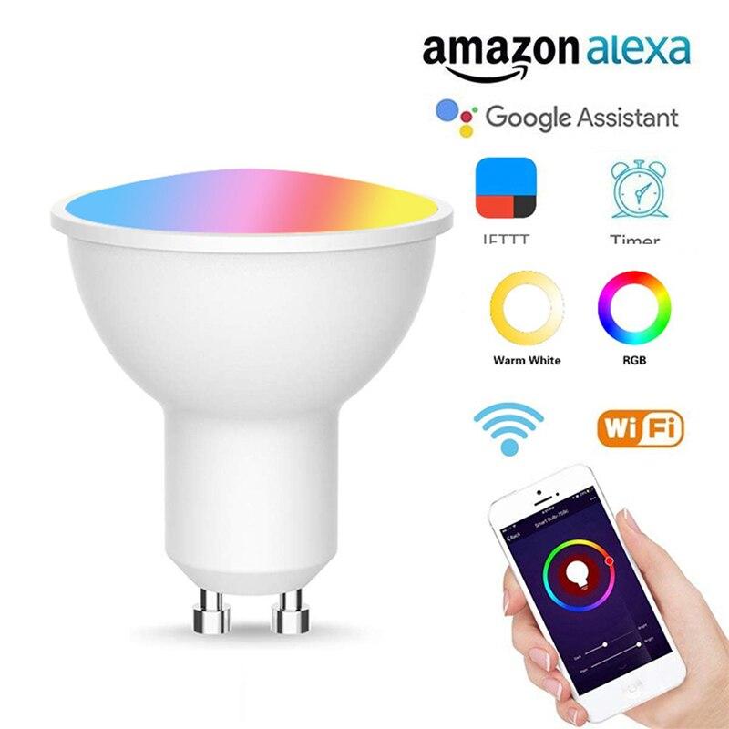 1/2/5/10 шт Новый GU10 Смарт RGB + CW ЛАМПА беспроводной WiFi приложение светильник умный дом автоматизация совместима с Alexa Google Home