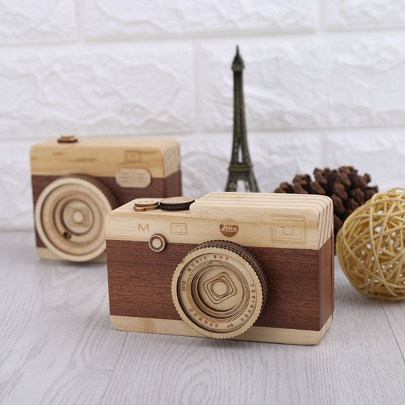 Wooden Music Box Retro Camera Design Classical Melody Birthday Home Decoration