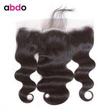Abdo 13*4 Кружева Фронтальная Закрытие с волосами младенца перуанские тела волна Кружева Фронтальные человеческие волосы закрытие 8-20 дюймов не реми волосы