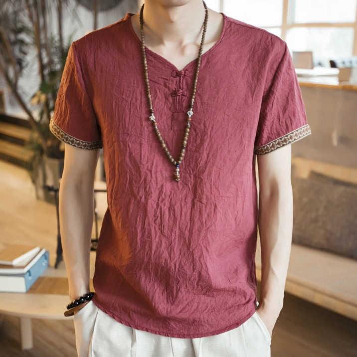 Été hommes coton lin Blouse à manches courtes t-shirt chinois traditionnel vêtements mâle rétro Hanfu Tang costume Streetwear t-shirts hauts