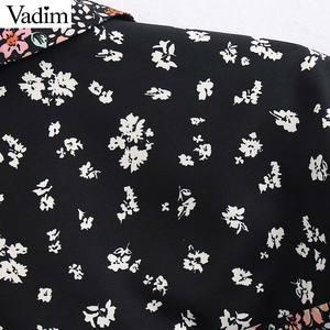 Image 4 - Vadim femmes rétro fleur patchwork blouse poche décorer à manches longues chemises femme décontracté élégant hauts blusas LB746