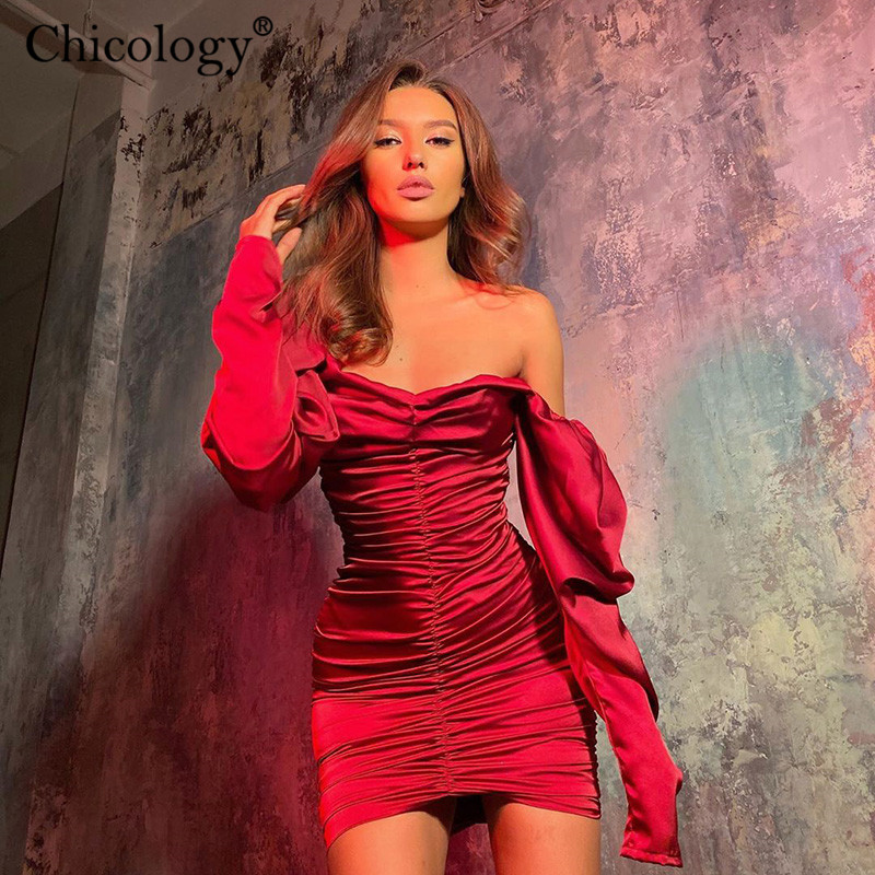 Chicology Off Shoulder Long Sleeve Elegant Lady Mini Dress 2019 Autumn Winter Office Party Club Casual Bodycon Sexy Clothes