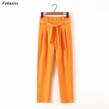 High Waist Pants Women 2019 Fall New Zippers Up Pocket Sashes Decoration Pleated Pantalones mujer Loose Elegant Straight