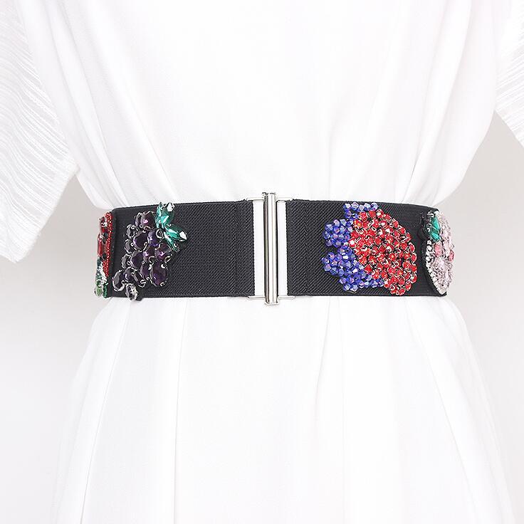 Women's Runway Fashion Rhinestone Beaded Elastic Cummerbunds Female Dress Corsets Waistband Belts Decoration Wide Belt R2925