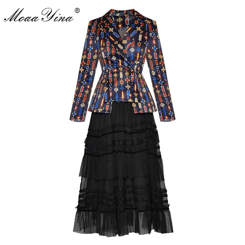 MoaaYina Fashion Designer Suit Autumn Winter Women Long Sleeve Stripe Print Suit Tops+Mesh Skirt Two-piece Set