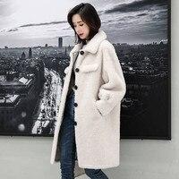 2019 New Winter Women Casual Plus Size 4XL Genuine Sheep Shearing Fur Long Coat Lady Real Sheepskin Fur Wool Jacket Abrigo J96