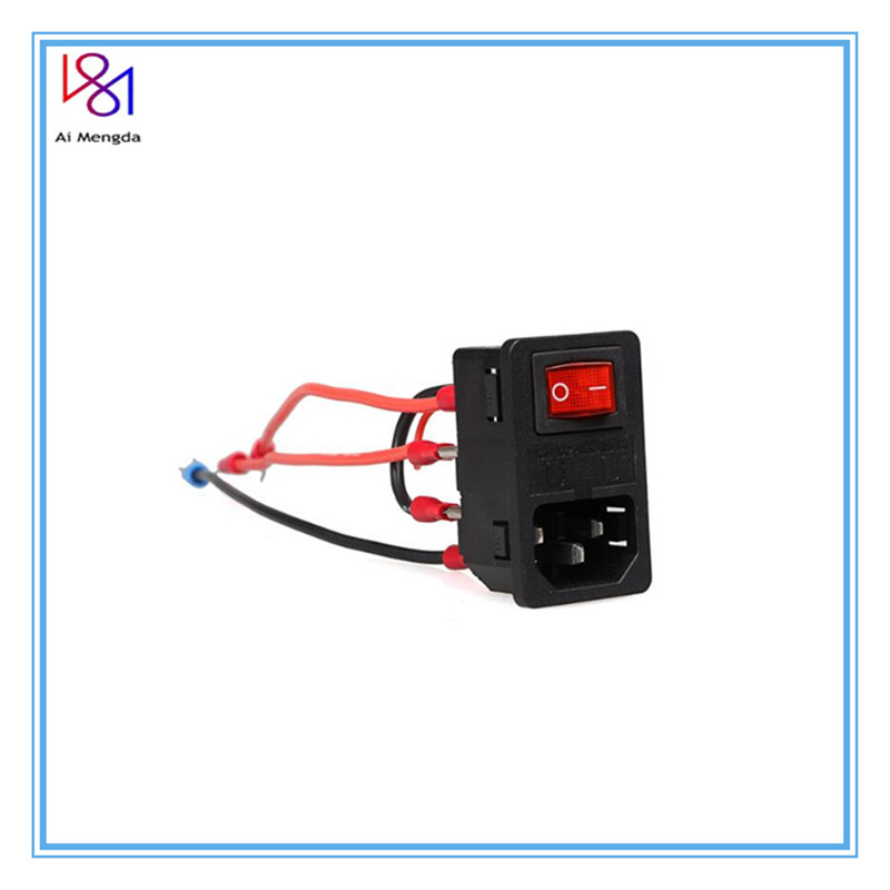 3D Printer Parts 220V/110V 10A Power Supply Switch Male Socket with Fuse Short Circuit Protection Safety Switch Power Socket