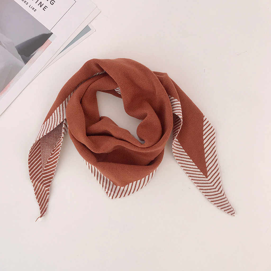 Womens Fashion Autumn Bib Shawl Stripe Winter knitting Scarf Keep Warm Scarves foulard femme hiver 2019 #SS