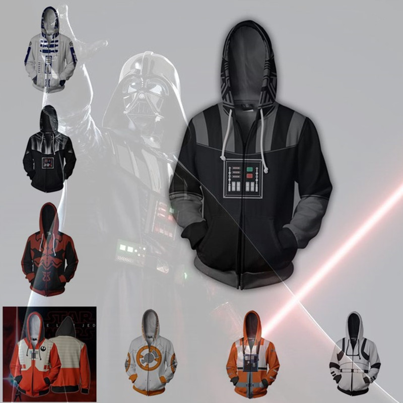 Movie Star Wars Darth Vader Men Sweatshirts Hoodie Cosplay Costume Jackets Zipper Hoded