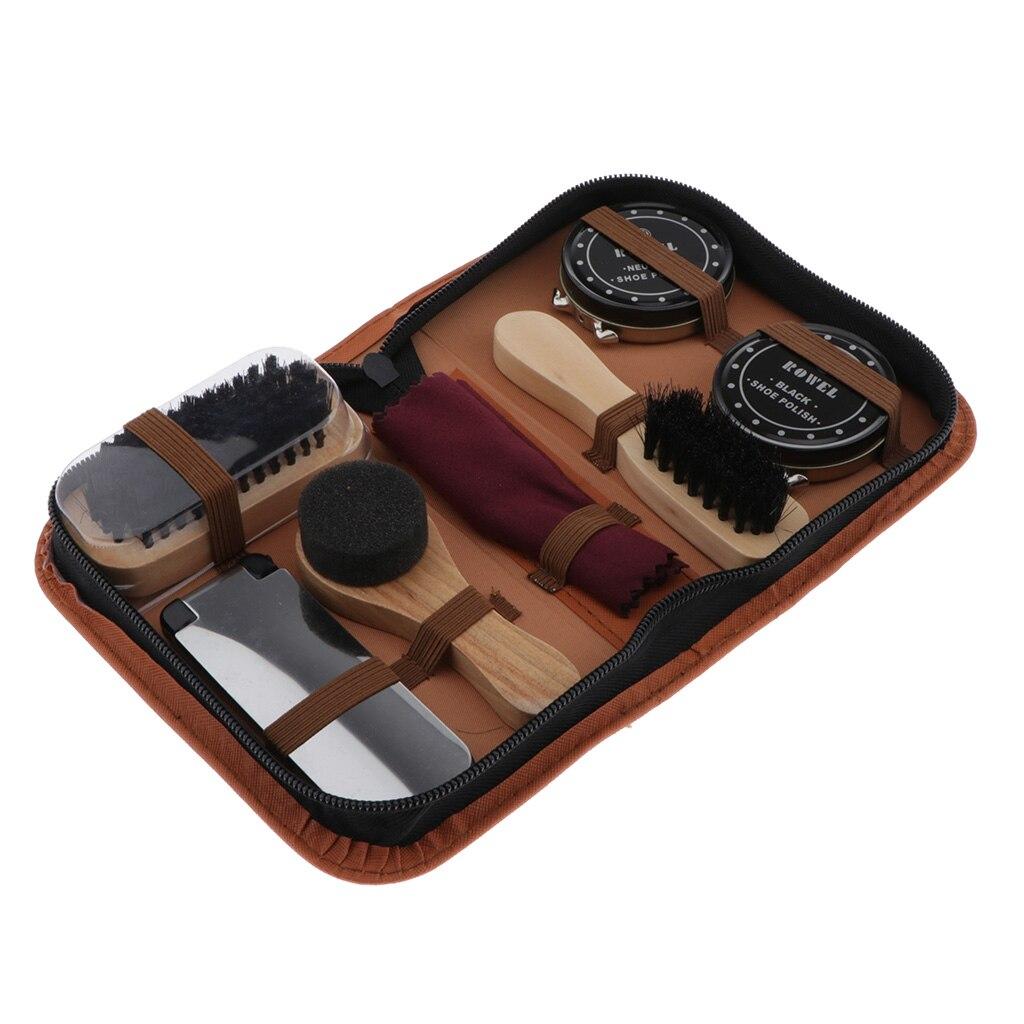 7pcs Portable Shoe Cleaning Kit Shoe Care Set Busts Set Leather Care Shoe Complete Cleaner Kit Shine Polish Brushes