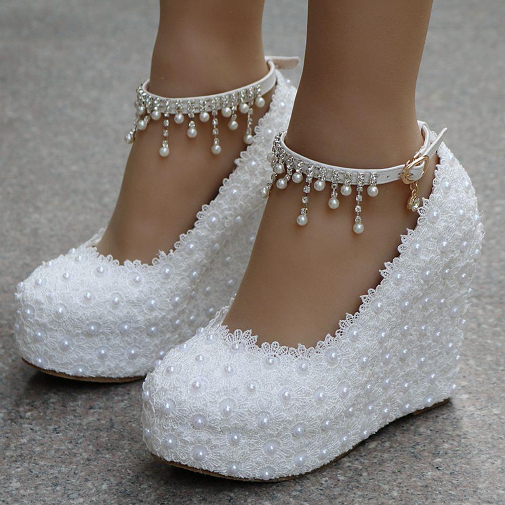 Cristal reine blanc compensées pompes de mariage douce fleur blanche dentelle perle plate-forme pompe chaussures robe de mariée talons hauts