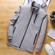 spring autumn men sweatshirt full zip up jacket zipper pocket sport casual running jogger workout exercise sportswear 9XL