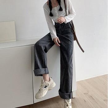 Woman Jeans High Waist Clothes Wide Leg Denim Clothing Blue Streetwear Vintage Quality 2020 Fashion Harajuku Straight Pants 2