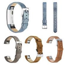 Adjustable Genuine Leather Replacement Watch Band Wrist Strap for Fitbit Alta HR