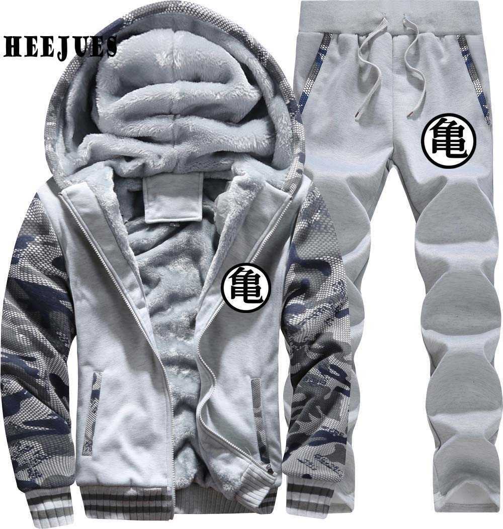 2020 Winter Jacke Dragon Ball Z DBZ Logo Super Saiyan Goku Anime Männer Hoodies Sweatshirt + Hosen Mantel Trainingsanzüge Set dicke Fleece