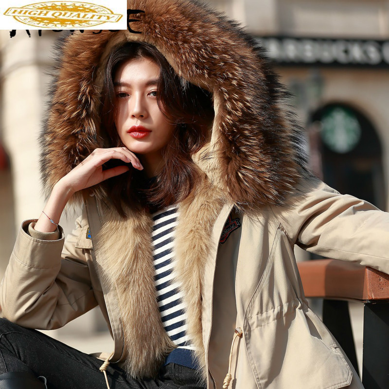 Real Fur Coat Winter Coat Women Clothes 2019 Korean Rex Rabbit Fur Coat Raccoon Fur Collar Hooded Warm Parka D1388813 YY2036