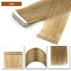 """Image 5 - Neitsi Natural Straight PU Skin Weft Adhesives Hair Extensions 16"""" 20"""" 24"""" Blonde Color Hand Tied Tape In Remy Human Hair"""
