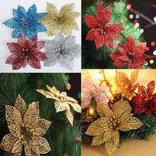 10 Uds. De flores artificiales brillantes de 15cm, decoraciones para árboles de Navidad, decoración del hogar, suministros para fiestas festivas de boda 6ZHH186